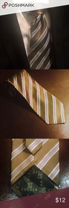 FOGGIA  handmade Mens Silk Neck Tie Beautiful hand made. 100% silk, chocolate and violet striped tie Froggia Accessories Ties