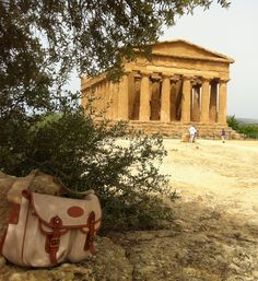 A great image of our Chapman Bags outside the Agrigento's Valley of the Temples in Sicily, Italy Sicily Italy, Temples, Travel Bags, Gazebo, England, Outdoor Structures, Mens Fashion, Adventure, Luxury