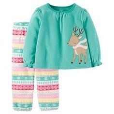 Toddler Girls' Fleece Pajama Set Fair Isle Reindeer - Aqua - Just One You™ Made by Carter's® : Target