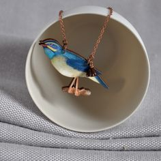 Blue Tit Necklace from artysmartyshop.com #bluebird #bird #necklace #fashion #accessories #badge #outfit