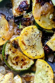 Easy Sautéed Squash and Zucchini Recipe with onions and butter for a rich and delicious keto side dish the whole family loves.