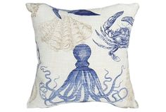 Bask in the beachside beauty that the Coastal blue 18x18 outdoor accent pillow brings forth.