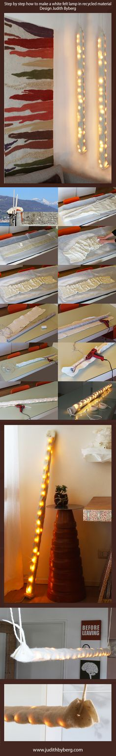 Felt lamp made of carded Merino wool col. pumpkin, bamboo tops link, tussah silk tops. Structure tube in recycled paper.