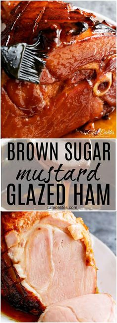 The most perfect sticky glaze is slathered all over this jui. - Food RecipesThe most perfect sticky glaze is slathered all over this juicy, tender Brown Sugar Mustard Glazed Ham, with crisp edges and an incredible flavour! Christmas Ham Recipes, Christmas Cooking, Holiday Recipes, Christmas Ham Glaze, Ham Steak Recipes, Cooking Recipes, Baked Ham Recipes, Sweet Baked Ham Recipe, Best Glazed Ham Recipe