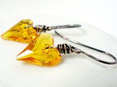 Swarovski Sunflower Yellow Heart Earrings Wire Wrapped by Beeskers, $23.00
