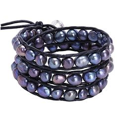 Freshwater Black Pearl Bracelets Multi Wraps Stackable Leather Jewelry.More info for sterling silver cuff bracelet;rose gold bangle bracelet;unique bracelets;white gold bracelets for women;bracelets for women could be found at the image url.(This is an Amazon affiliate link and I receive a commission for the sales)