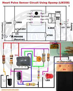 Heart Pulse Sensor Circuit Using Opamp Electronics Projects, Hobby Electronics, Electronics Basics, Electronics Components, Electronics Gadgets, Electronic Circuit Design, Electronic Kits, Electronic Schematics, Electronic Engineering
