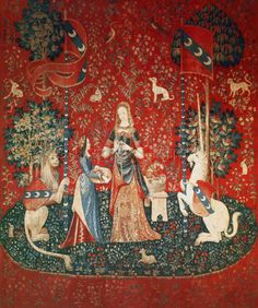 Scarlet Quince cross stitch chart: Lady with Unicorn: Sense of Smell, from the Cluny tapestries
