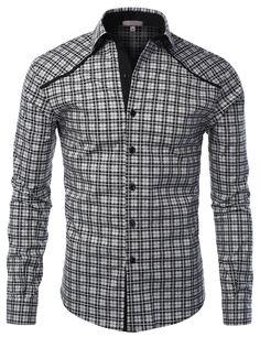 LE3NO Mens Slim Fit Plaid Button Down Shirt
