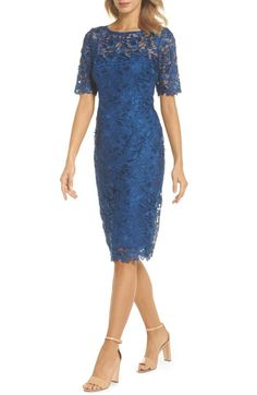 Find and compare Adrianna Papell Guipure Lace Sheath Dress (Regular & Petite) across the world's largest fashion stores! Mob Dresses, Dressy Dresses, Petite Dresses, Fall Dresses, Bridesmaid Dresses, Bride Dresses, Formal Dress, Mother Of Groom Dresses, Lace Evening Dresses
