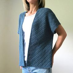 This kimono style cardigan is easy to throw on over anything. Knit in Shibui Twig, it is light weight with just the right amount of drape.