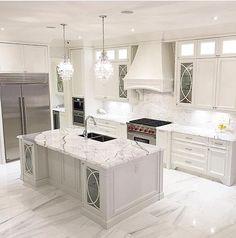 The kitchen that is top-notch white kitchen , modern kitchen , kitchen design ways! Luxury Kitchen Design, Luxury Kitchens, Interior Design Kitchen, Home Kitchens, Dream Kitchens, Kitchen Designs, Modern Kitchens, Kitchen Modern, Best Kitchen Countertops