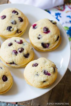 Tangy Lemon Blueberry Whoopie Pie Recipe on ASpicyPerspective.com #whoopiepie #blueberry