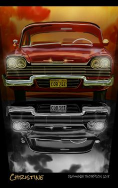 (Spen Art by Christine [movie car series] Movie Cars, Movie Tv, Everything Film, Steven King, Plymouth Cars, Cars Series, Classic Horror Movies, Mustang Cars, Stiles