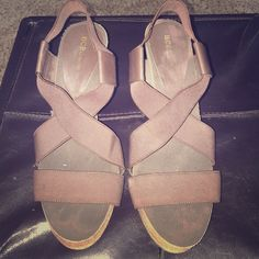 BCBG wedges Gently used brown wedges! Matches just about anything! BCBGeneration Shoes Wedges