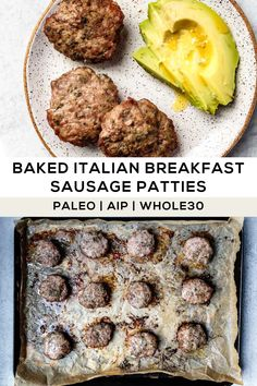 Make these oven-baked breakfast sausage patties recipe for meal prep-- it takes less than 30 minutes, only requires 8 ingredients, and is a perfect egg-free breakfast for Paleo, AIP, and Whole30 diets! #paleo #whole30breakfast #aiprecipes