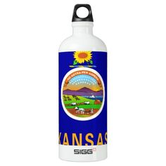 #Kansas Flag Aluminum Water Bottle - #travel #accessories
