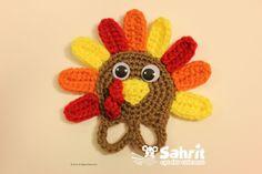 Ravelry: Turkey Applique Finger Puppet pattern by Sahrit Freud-Weinstein Crochet Kids Hats, Crochet Fall, Crochet Bunny, Crochet Crafts, Crochet Flowers, Crochet Projects, Free Crochet, Crochet Toys, Crochet Tutorials