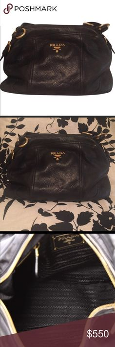 """💯%Auth Prada Hobo Soft Calfskin Leather Med💼 Bag This Auth Prada Pleated Hobo Soft Calfskin Medium Bag. In Great condition with leather aging, minor scuff/mark wears. Crafted in black soft calfskin leather, this pleated bag features with a Prada logo and gold-Its magnetic snap closure opens to a black fabric-lined interior with side zip pocket and snap pocket perfect for storing all essentials. Authenticity code reads:31 Measurements: Handle Drop 8"""", Height 11"""", Width 13"""", Depth 5."""" Prada…"""