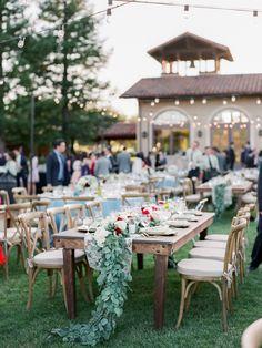 Springtime Wedding In Sonoma White Dusty Blue Burgundy Reception Flower Garland Fleurs De