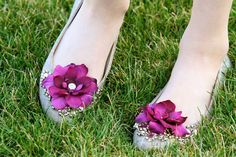 shoe clips - purple flower shoe clips with rhinestone fancy button centers. $18.99, via Etsy.
