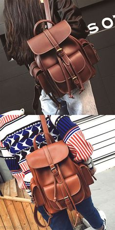 Leisure Brown Three Pockets PU Smooth Large School Backpacks for big sale! Lace Backpack, Retro Backpack, Striped Backpack, Backpack For Teens, Satchel Backpack, Animal Backpacks, Cute Backpacks, Girl Backpacks, School Backpacks