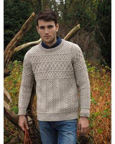 763bd20b699318 Aran Man s Crew Neck Sweater Sweater Knitting Patterns