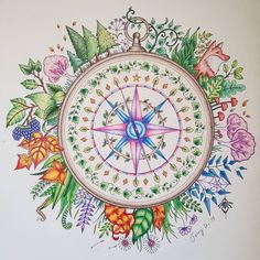 Johanna Basford Enchanted Forest Compass Done With Prismacolor Pencils