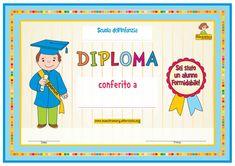 Diploma di congedo per la Scuola dell'Infanzia - bambino Certificate, Graduation, Party, Dative Case, Moving On, Graduation Day, College Graduation, Prom