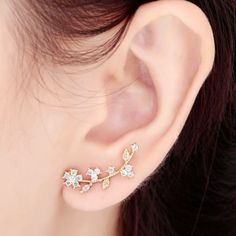 Ear Sweep Wrap Cuff Earring with CZ Crystal 18K Gold Plated Flower | eBay