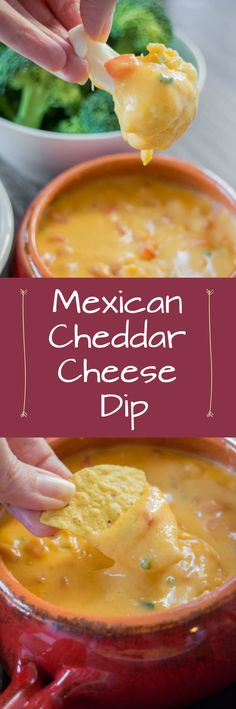Mexican Cheddar Cheese Dip. This is a perfect dip to serve with tortilla chips, crackers or vegetables like broccoli and cauliflower. It's delicious!