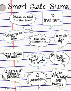 Accountable Talk - Smart Talk Stems Poster Anchor Chart {FREEBIE}