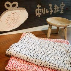 【刺し子】布巾(紺)Hand-stitched cloth B22
