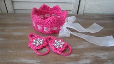 Baby Photo Prop Pink Crown and Barfoot Sandals for by ZINULIS, $29.00
