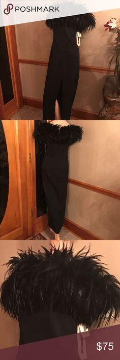 Dave and Johnny black party dress with feathers. Black polyester party dress with feather collar. Dry clean only. Lined. Split on one side of leg. Elastic straps on shoulder. dave and johnny Dresses Maxi
