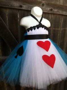 Deluxe Alice in Wonderland Inspired Tutu Dresswith Felt Accents and Matching Black Bow Satin Headband