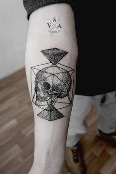 Skull In Cube - http://www.pairodicetattoos.com/skull-in-cube/
