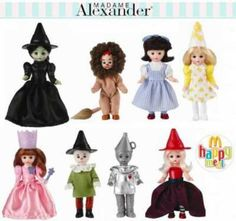 Madame Alexander Happy Meal Dolls, 2007: Wicked witch of the West, Daisy Munchkin, Glinda, Wicked Witch of the East