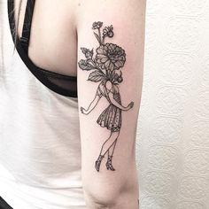 Lady with Flowers, Johno BLACK IRIS TATTOO Brooklyn, NYC