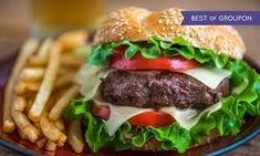 Satisfy that grumbling belly with a beef or chicken burger with the lot, a vege or a house burger accompanied with some fries and a drink Home Burger, Beer Burger, Vege Burgers, New Flavour, New Recipes, A Food, Catering, Fries, Yummy Food