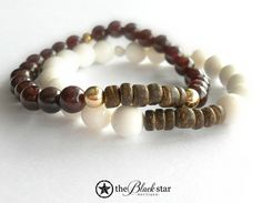 As Seen on Uber Apparatus // Coconut Wood Heishi and Garnet with 14K Gold Stacking Bracelet