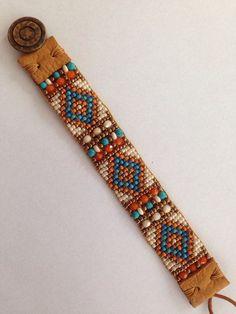 Hand Loomed Beaded by FlyByNightBracelets on Etsy Indian Summer. Hand Loomed Beaded by FlyByNightBracelets on Etsy Loom Bracelet Patterns, Bead Loom Bracelets, Bead Loom Patterns, Beaded Jewelry Patterns, Beading Patterns, Mosaic Patterns, Crochet Patterns, Beading Ideas, Bracelet Designs