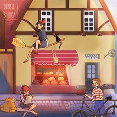 Kiki's delivery service! Kiki Delivery, Kiki's Delivery Service, Studio Ghibli Art, Studio Ghibli Movies, Mc Studio, Personajes Studio Ghibli, Howl And Sophie, Poses References, Howls Moving Castle