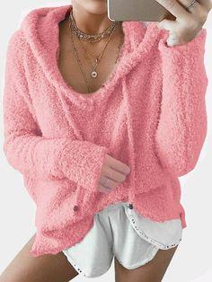 Pink Mohair Pullover Drawstring Hooded Sweatshirt