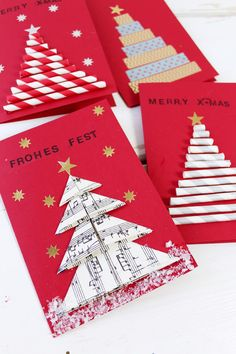 DIY Geschenke für Weihnachten: 3 originelle DIY-Ideen DIY origami card for christmas. Gifts are super easy to make yourself and specially made greeting cards are a great eye-catcher on any Christmas gift! Christmas Origami, Diy Christmas Cards, Noel Christmas, Xmas Cards, Christmas Crafts, Christmas Decorations, Diy Origami Cards, Origami Pig, Origami Easy