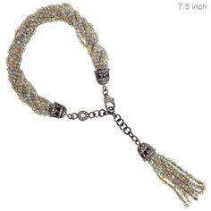 2.1ct Diamond Pave Gemstone Labradorite Beaded Tassel Bracelet 925 Silver 7.5in…
