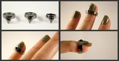 I want these triangle nail rings soooo much ! Triangle Nails, Triangle Ring, Steampunk Nails, Nail Jewelry, Jewellery, Womens Closet, Nail Ring, New Nail Art, Nail Accessories