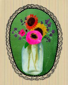 Bal Jar, bloemboeket, afdrukken, collage van mijn origineel schilderij, giclee, zonnebloem