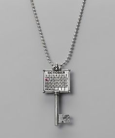 Take a look at this Antique Silver 'October' Calendar Key Necklace by Not Just Any Old Day on #zulily today!