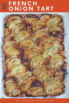 A tender pastry crust topped with sweet roasted onions and just a hint of herbs make this French onion tart a party favorite. A sprinkle of thyme and a handful of gruyere pair deliciously with caramelized onions.